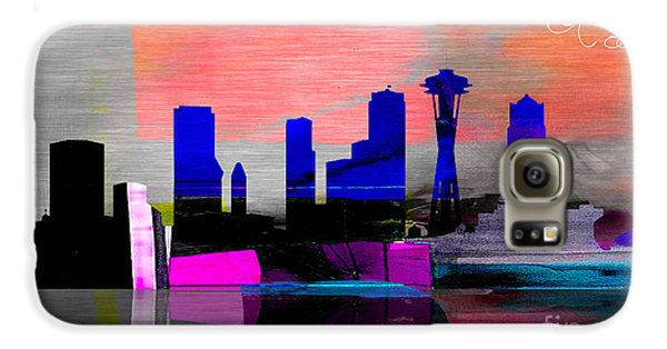 Seattle Skyline Watercolor Galaxy S6 Case by Marvin Blaine