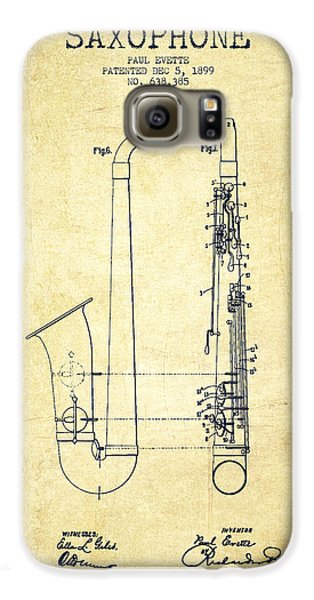 Saxophone Patent Drawing From 1899 - Vintage Galaxy S6 Case by Aged Pixel
