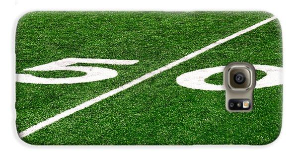 50 Yard Line On Football Field Galaxy S6 Case by Paul Velgos