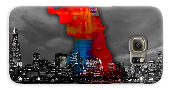 Chicago Map And Skyline Watercolor Galaxy S6 Case by Marvin Blaine