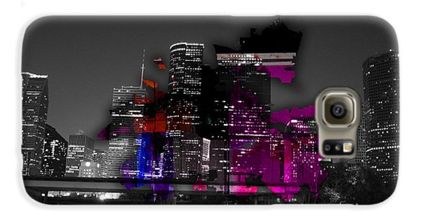 Houston Map And Skyline Watercolor Galaxy S6 Case by Marvin Blaine