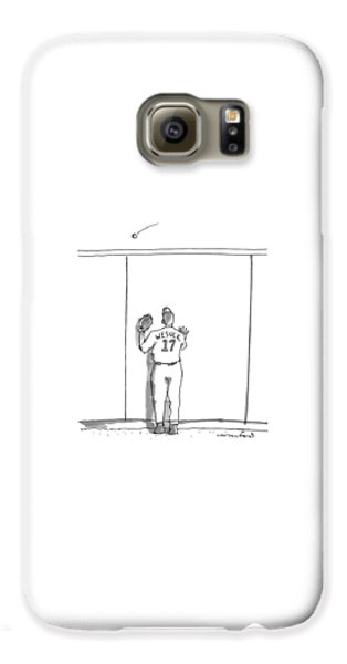 Baseball Players Galaxy S6 Case - A Baseball Player Watches A Ball Fly Over A Wall by Michael Crawford