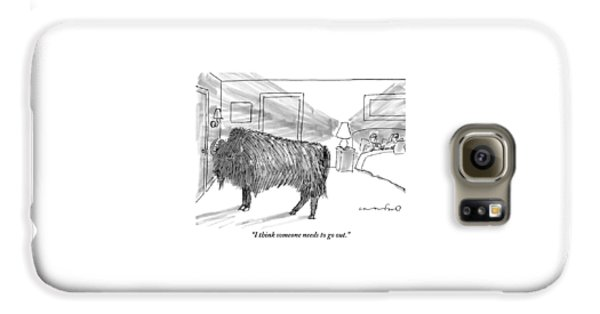 A Large Buffalo Stands Near The Door Galaxy S6 Case