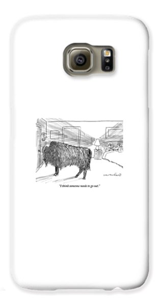Yak Galaxy S6 Case - A Large Buffalo Stands Near The Door by Michael Crawford