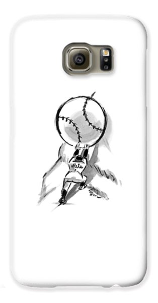 Baseball Players Galaxy S6 Case - A Mets Player Pushes A Giant Baseball by Lee Lorenz