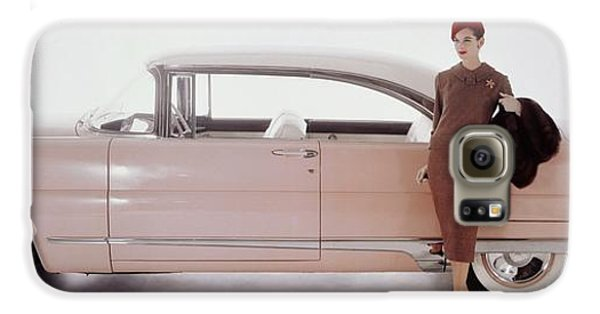 A Model Posing In Front Of A Vintage Car Galaxy S6 Case by Karen Radkai