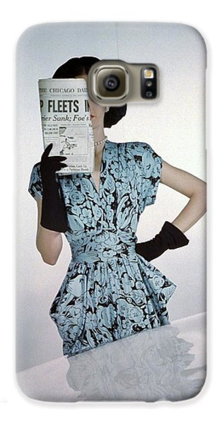 A Model Wearing A Floral Blue Dress Galaxy S6 Case by Constantin Joff?