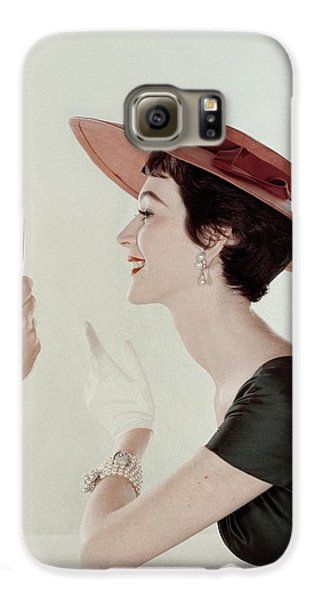 A Model Wearing A Sun Hat And Dress Galaxy S6 Case by John Rawlings