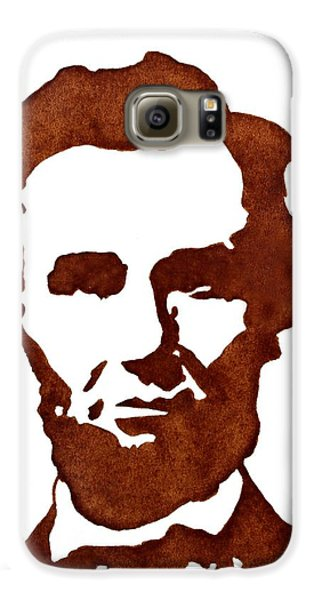 Galaxy S6 Case featuring the painting Abraham Lincoln Original Coffee Painting by Georgeta  Blanaru