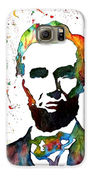 Galaxy S6 Case featuring the painting Abraham Lincoln Original Watercolor Painting by Georgeta Blanaru