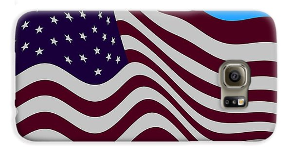 Abstract Burgundy Grey Violet 50 Star American Flag Flying Cropped Galaxy S6 Case by L Brown