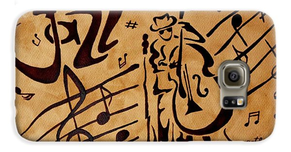 Galaxy S6 Case featuring the painting Abstract Jazz Music Coffee Painting by Georgeta  Blanaru