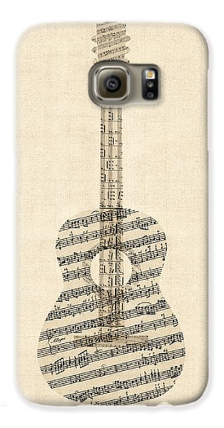 Acoustic Guitar Old Sheet Music Galaxy S6 Case by Michael Tompsett