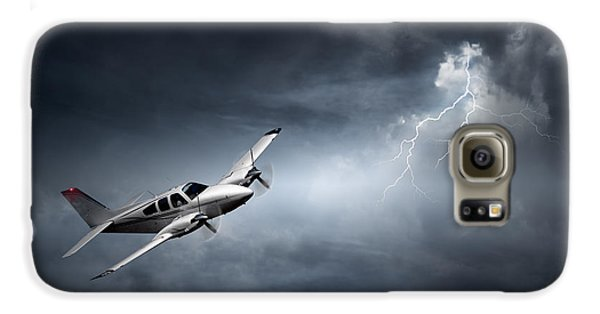 Airplanes Galaxy S6 Case - Risk - Aeroplane In Thunderstorm by Johan Swanepoel