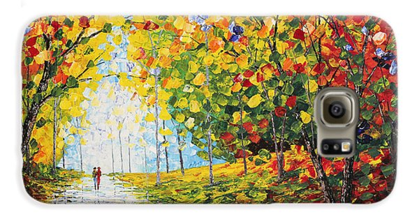 Galaxy S6 Case featuring the painting After Rain Autumn Reflections Acrylic Palette Knife Painting by Georgeta Blanaru