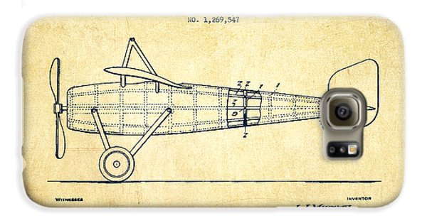 Airplane Galaxy S6 Case - Airplane Patent Drawing From 1918 - Vintage by Aged Pixel