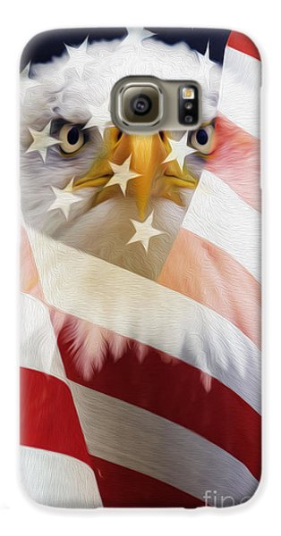 American Flag And Bald Eagle Montage Galaxy S6 Case