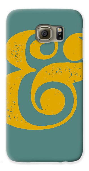 Ampersand Poster Blue And Yellow Galaxy S6 Case by Naxart Studio