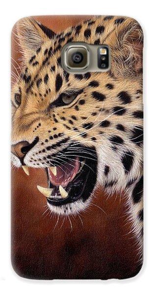 Amur Leopard Painting Galaxy S6 Case by Rachel Stribbling
