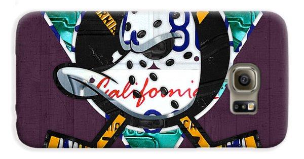 Duck Galaxy S6 Case - Anaheim Ducks Hockey Team Retro Logo Vintage Recycled California License Plate Art by Design Turnpike