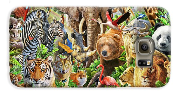 Galaxy S6 Case featuring the drawing Animal Mix by Adiran Chesterman
