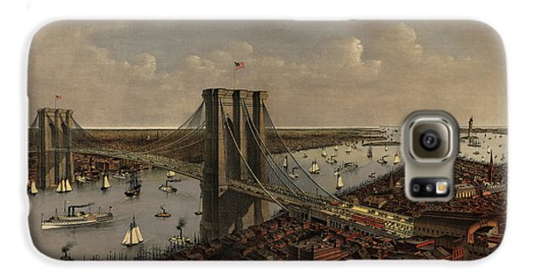 Antique Birds Eye View Of The Brooklyn Bridge And New York City By Currier And Ives - 1885 Galaxy S6 Case by Blue Monocle