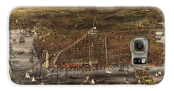 Antique Map Of Brooklyn By Currier And Ives - Circa 1879 Galaxy S6 Case