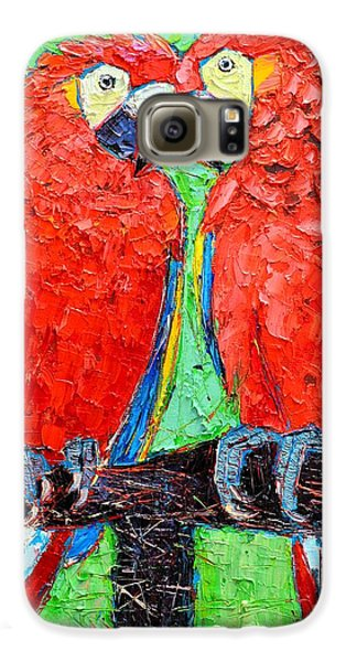 Macaw Galaxy S6 Case - Ara Love A Moment Of Tenderness Between Two Scarlet Macaw Parrots by Ana Maria Edulescu