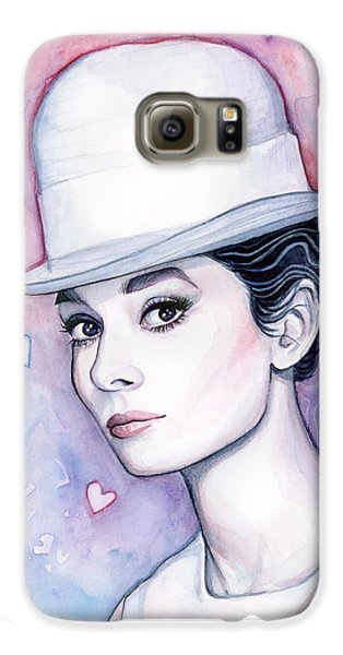 Audrey Hepburn Fashion Watercolor Galaxy S6 Case by Olga Shvartsur
