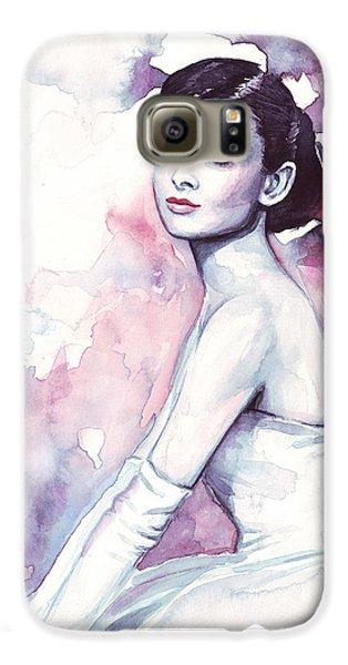 Audrey Hepburn Purple Watercolor Portrait Galaxy S6 Case by Olga Shvartsur