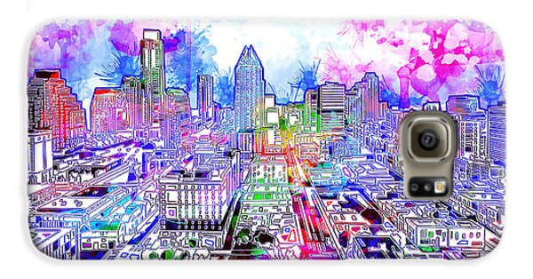 Austin Texas Watercolor Panorama Galaxy S6 Case