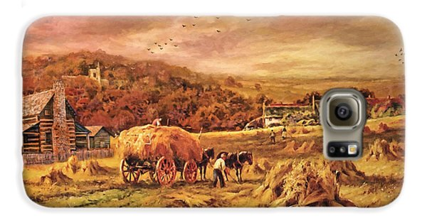 Autumn Folk Art - Haying Time Galaxy S6 Case