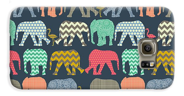Baby Elephants And Flamingos Galaxy S6 Case by Sharon Turner