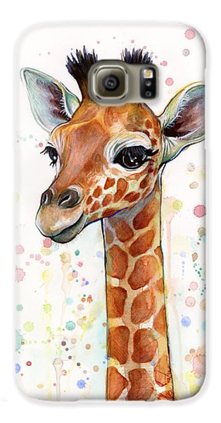 Mammals Galaxy S6 Case - Baby Giraffe Watercolor  by Olga Shvartsur
