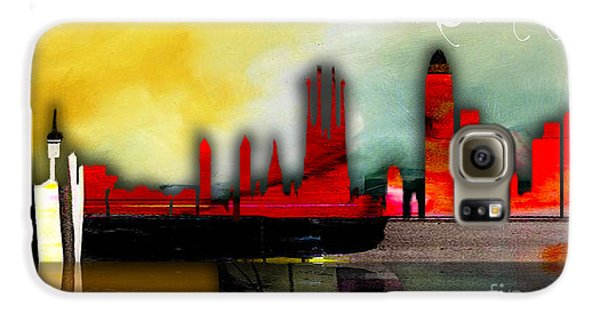 Barcelona Spain Skyline Watercolor Galaxy S6 Case