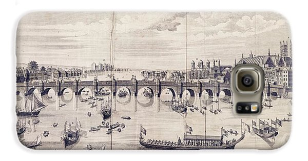 Barges At Westminster Bridge Galaxy S6 Case by Library Of Congress