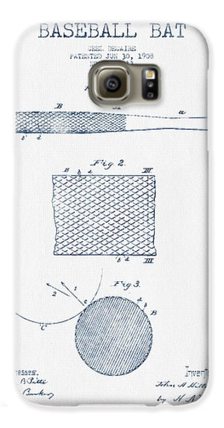 Baseball Bat Patent Drawing From 1904 - Blue Ink Galaxy S6 Case