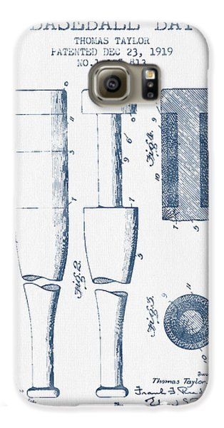 Baseball Bat Patent From 1919 - Blue Ink Galaxy S6 Case by Aged Pixel