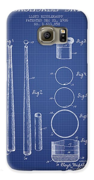 Baseball Bat Patent From 1926 - Blueprint Galaxy S6 Case by Aged Pixel