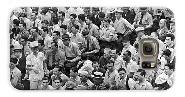 Baseball Fans In The Bleachers At Yankee Stadium. Galaxy S6 Case by Underwood Archives