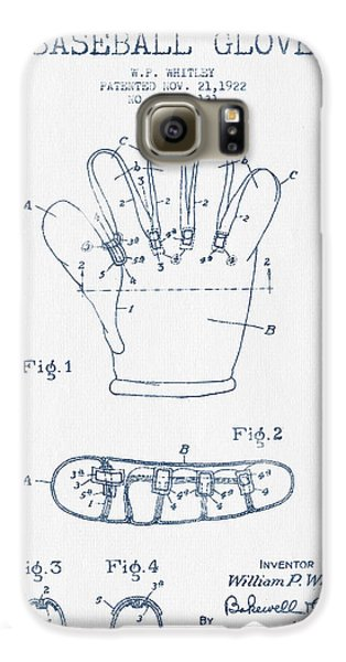 Baseball Gloves Galaxy S6 Case - Baseball Glove Patent Drawing From 1922 - Blue Ink by Aged Pixel