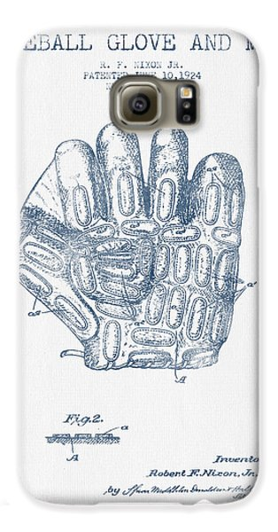 Baseball Gloves Galaxy S6 Case - Baseball Glove Patent Drawing From 1924 - Blue Ink by Aged Pixel