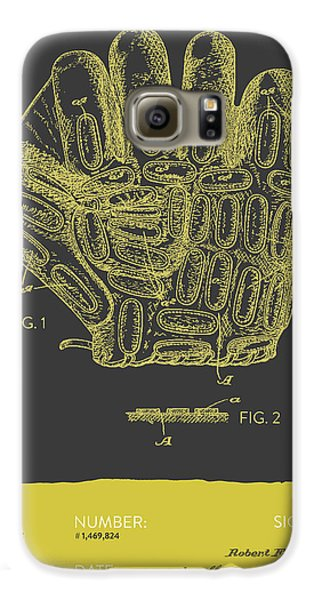 Baseball Gloves Galaxy S6 Case - Baseball Glove Patent From 1924 - Gray Yellow by Aged Pixel