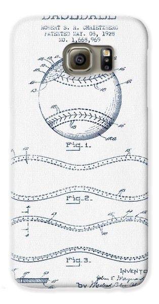 Baseball Patent Drawing From 1928 - Blue Ink Galaxy S6 Case by Aged Pixel