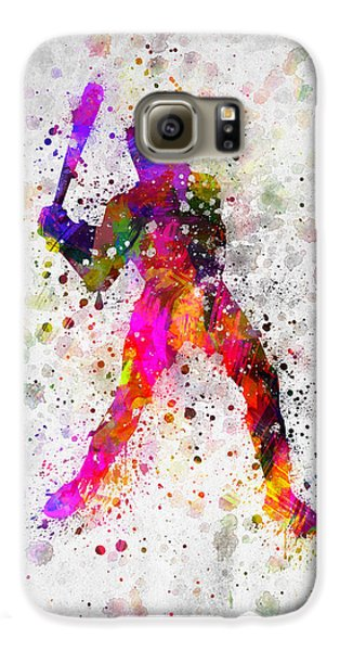 Baseball Player - Holding Baseball Bat Galaxy S6 Case by Aged Pixel