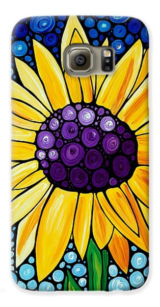 Sunflower Galaxy S6 Case - Basking In The Glory by Sharon Cummings