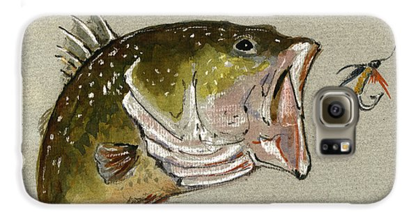 Largemouth Bass Galaxy S6 Case - Bass Fish Fly by Juan  Bosco