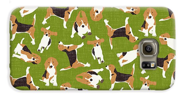 Beagle Scatter Green Galaxy S6 Case by Sharon Turner