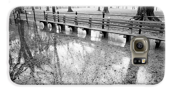 Galaxy S6 Case featuring the photograph Benches Reflection Poets Walk by Dave Beckerman