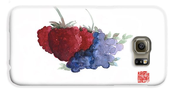 Berries Red Pink Black Blue Fruit Blueberry Blueberries Raspberry Raspberries Fruits Watercolors  Galaxy S6 Case by Johana Szmerdt